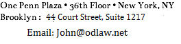 One Penn Plaza • 36th Floor • New York, NY